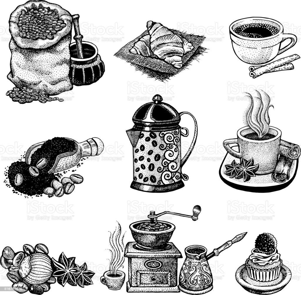 Vector vintage coffee set. vector art illustration