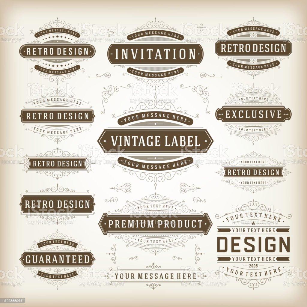 Vector vintage design elements vector art illustration
