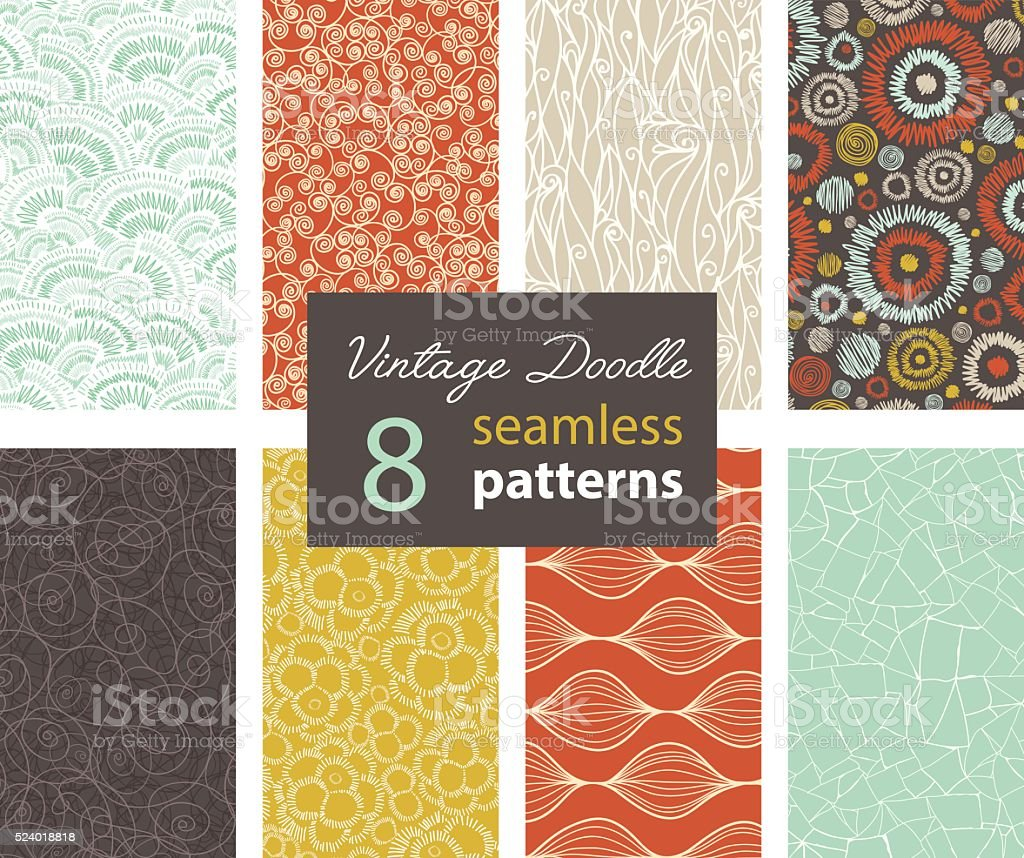 Vector Vintage Doodle Repeat Seamless Patterns 8 Set With Various vector art illustration