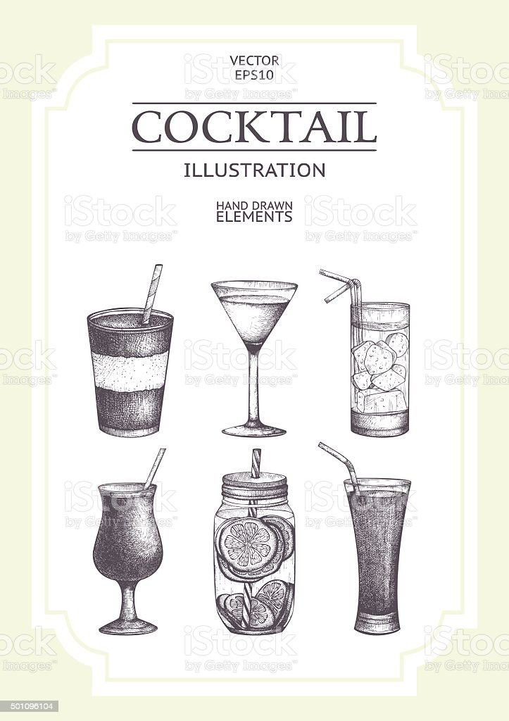 Vector vintage drinks illustration collection vector art illustration