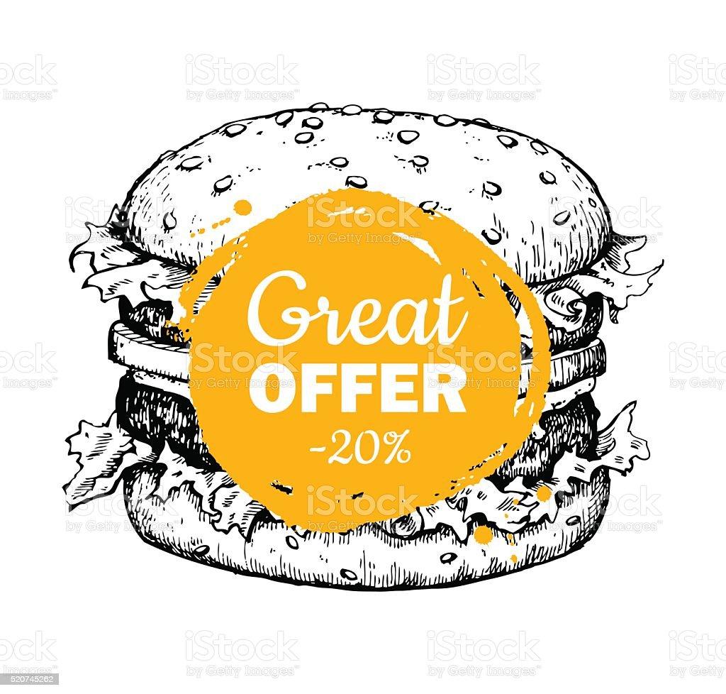 Vector vintage fast food special offer. Hand drawn monochrome ju vector art illustration