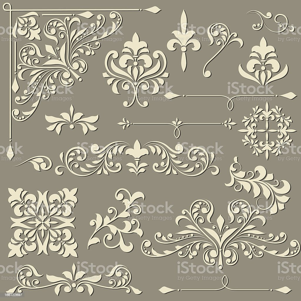 vector  vintage floral  design elements royalty-free stock vector art