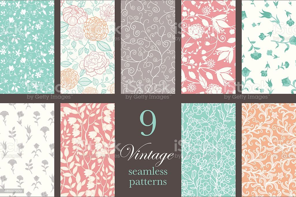 Vector Vintage Floral Elegant 9 Set Seamless Pattern vector art illustration