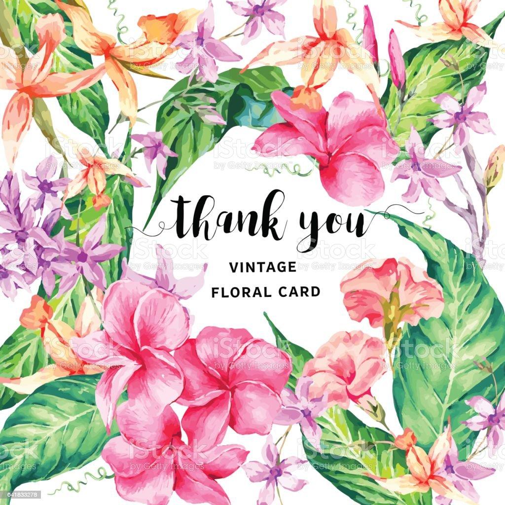 Vector Vintage Floral Tropical Thank You Card Stock Vector