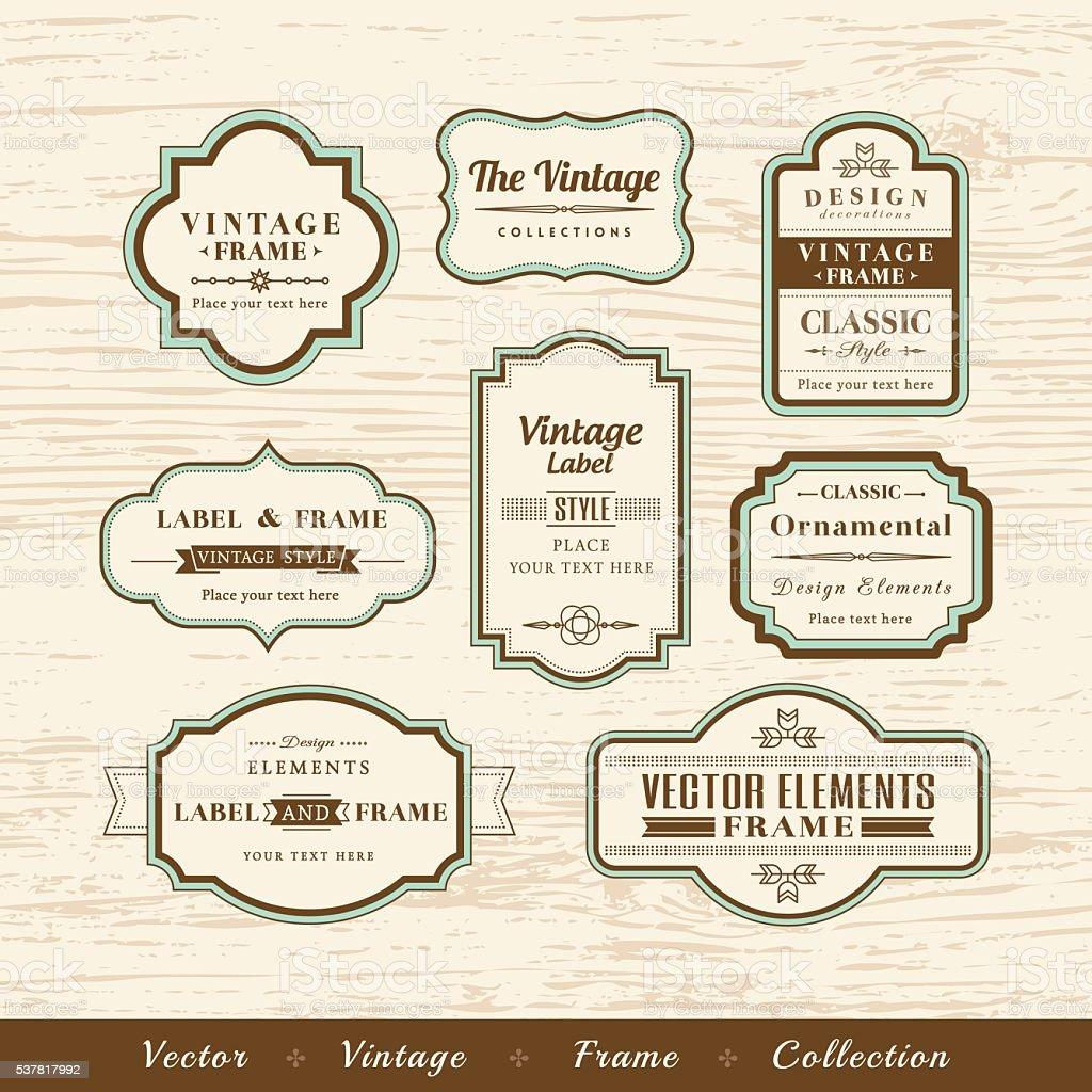 vector vintage frame set on wood texture background design elements vector art illustration