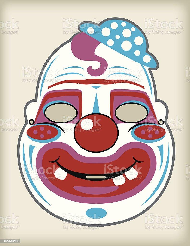 Vector Vintage Halloween Creepy Clown Mask vector art illustration