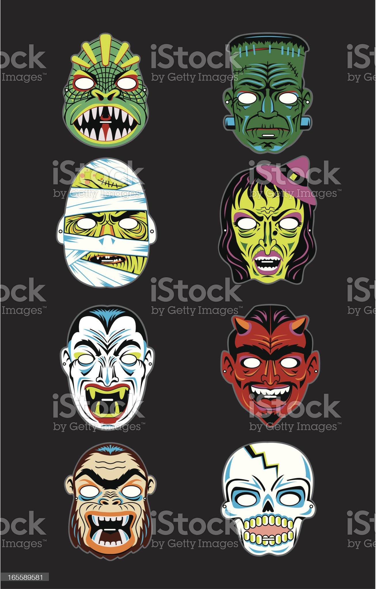 Vector Vintage Halloween Masks royalty-free stock vector art