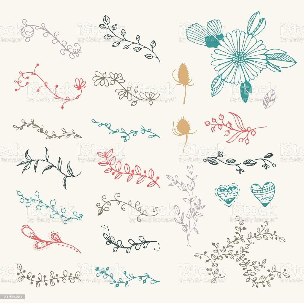 vector vintage hand drawn set of  floral elements and frames vector art illustration
