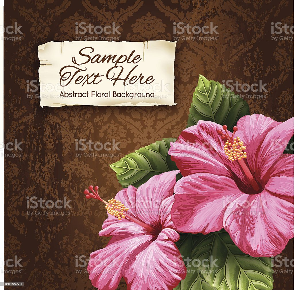Vector Vintage Hibiscus Background With Label For Copy Space royalty-free stock vector art