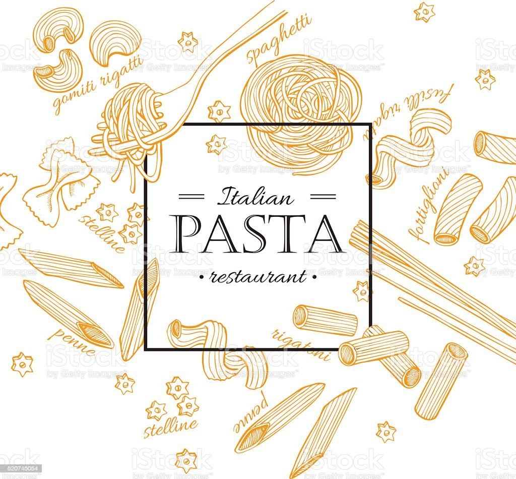 Vector vintage italian pasta restaurant illustration. Hand drawn vector art illustration