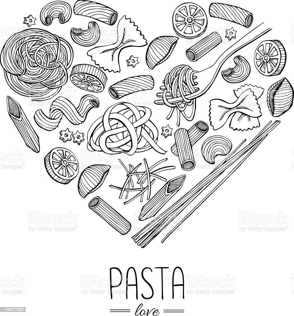 Vector vintage italian pasta restaurant illustration in heart sh vector art illustration
