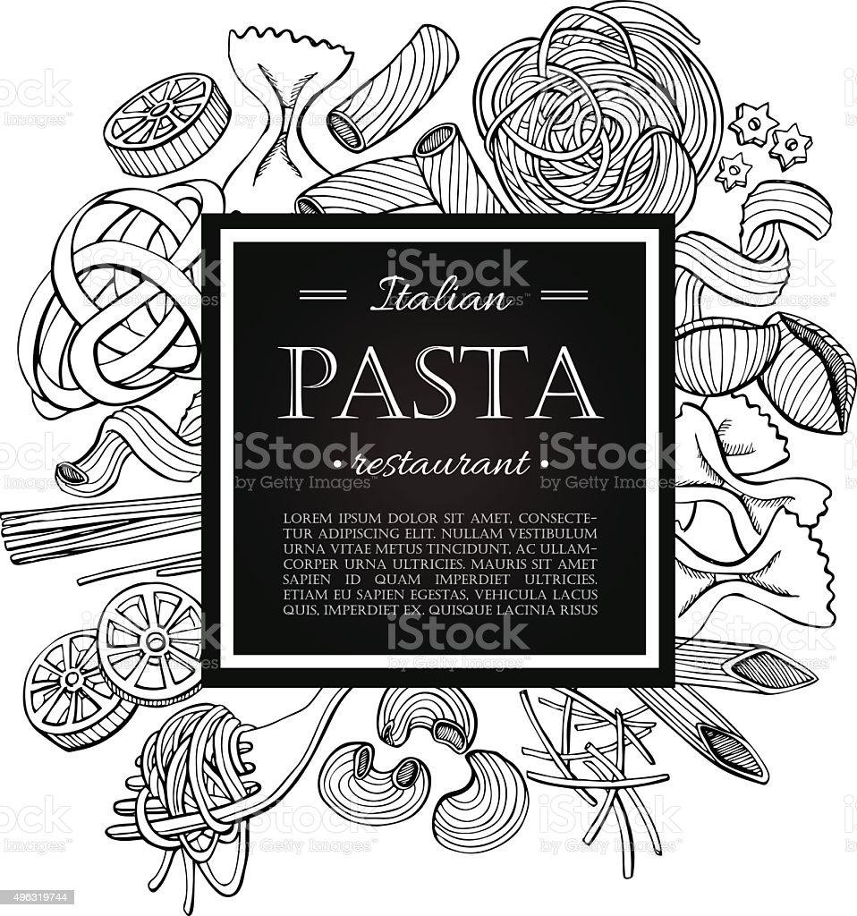 Vector vintage italian pasta restaurant illustration. vector art illustration