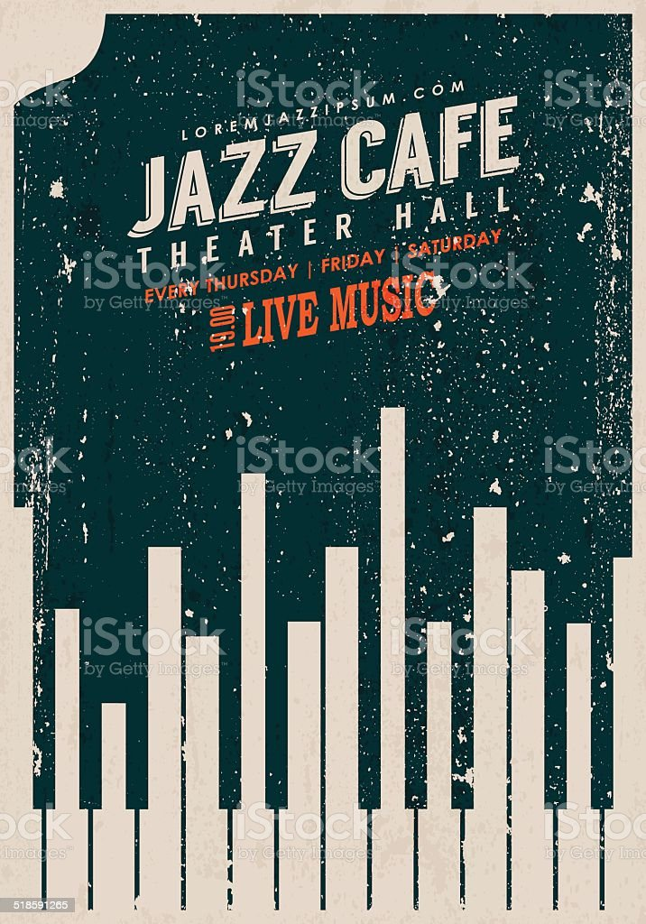 Vector Vintage Jazz music poster template. vector art illustration