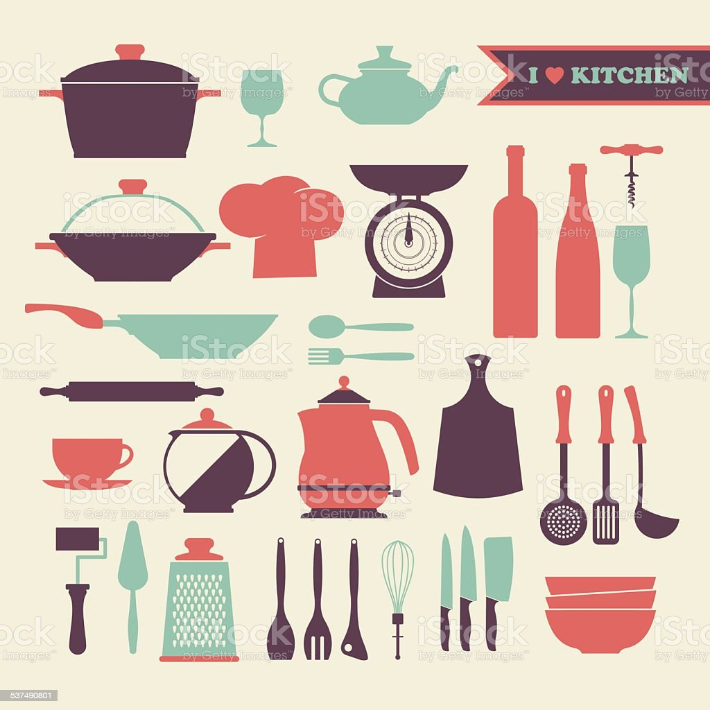 Vector Vintage kitchen dishes icons set vector art illustration