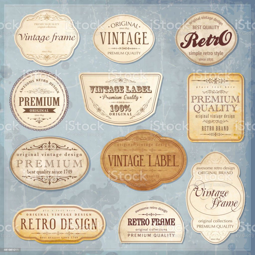 Vector vintage labels vector art illustration
