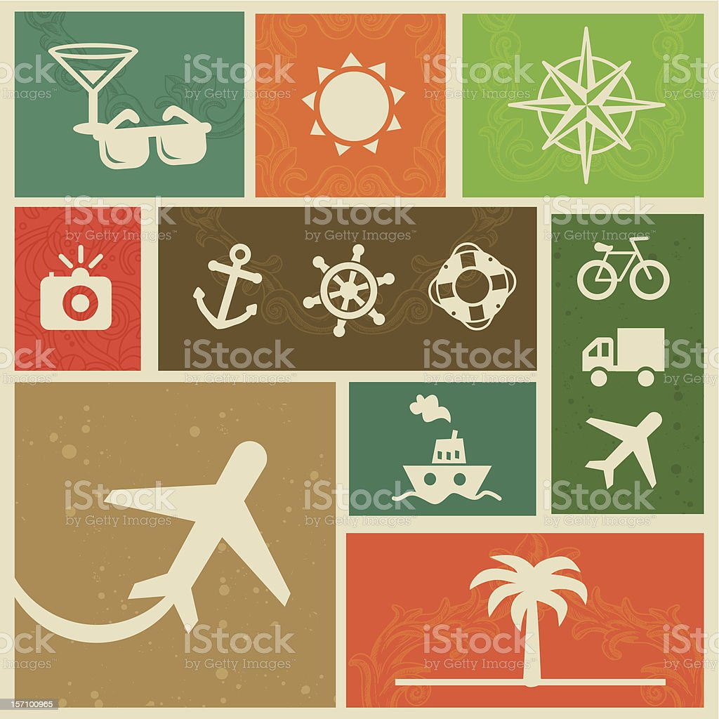 Vector vintage labels with travel signs and symbols royalty-free stock vector art