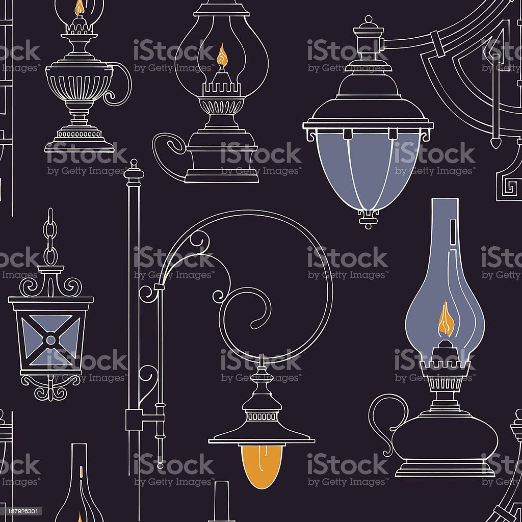 Vector vintage lamp seamless pattern royalty-free stock vector art