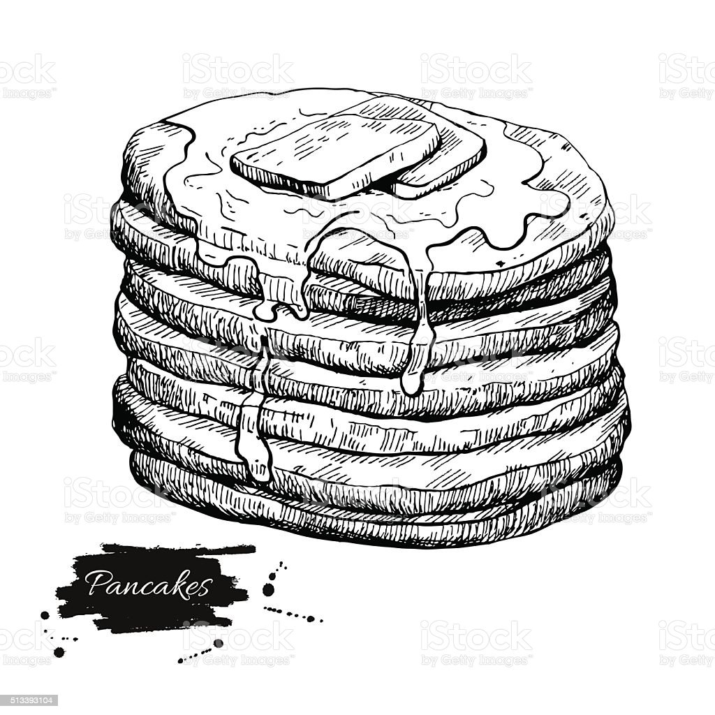 Vector vintage pancake drawing. Hand drawn monochrome food illus vector art illustration