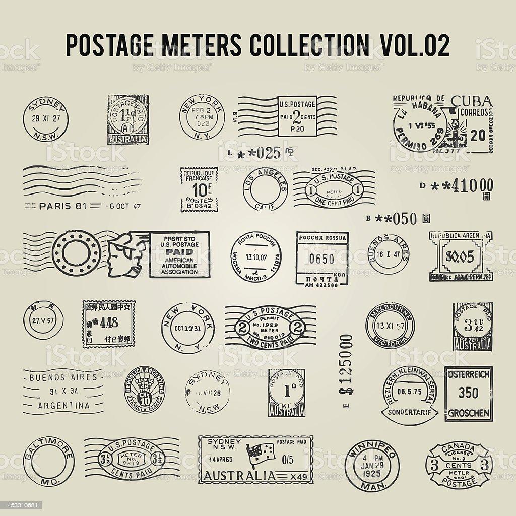 vector vintage postage meters royalty-free stock vector art