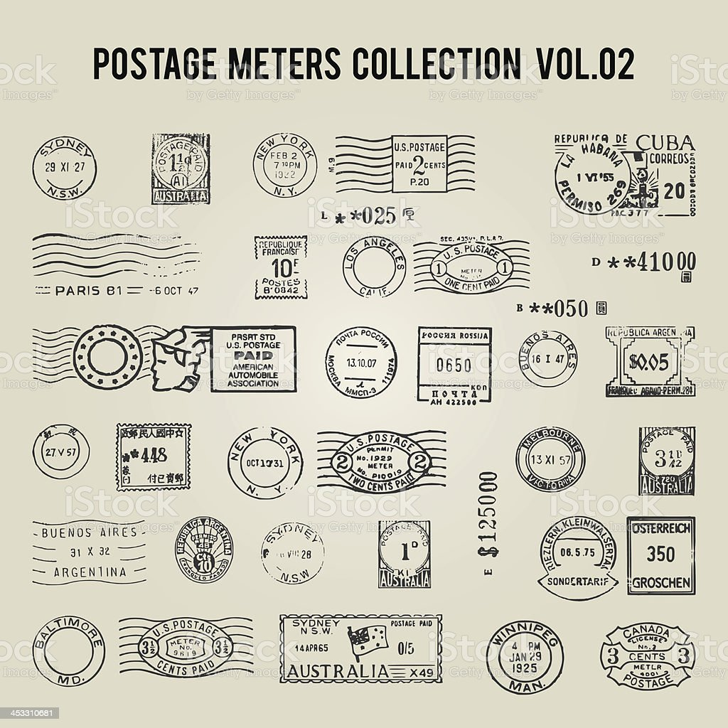 vector vintage postage meters vector art illustration