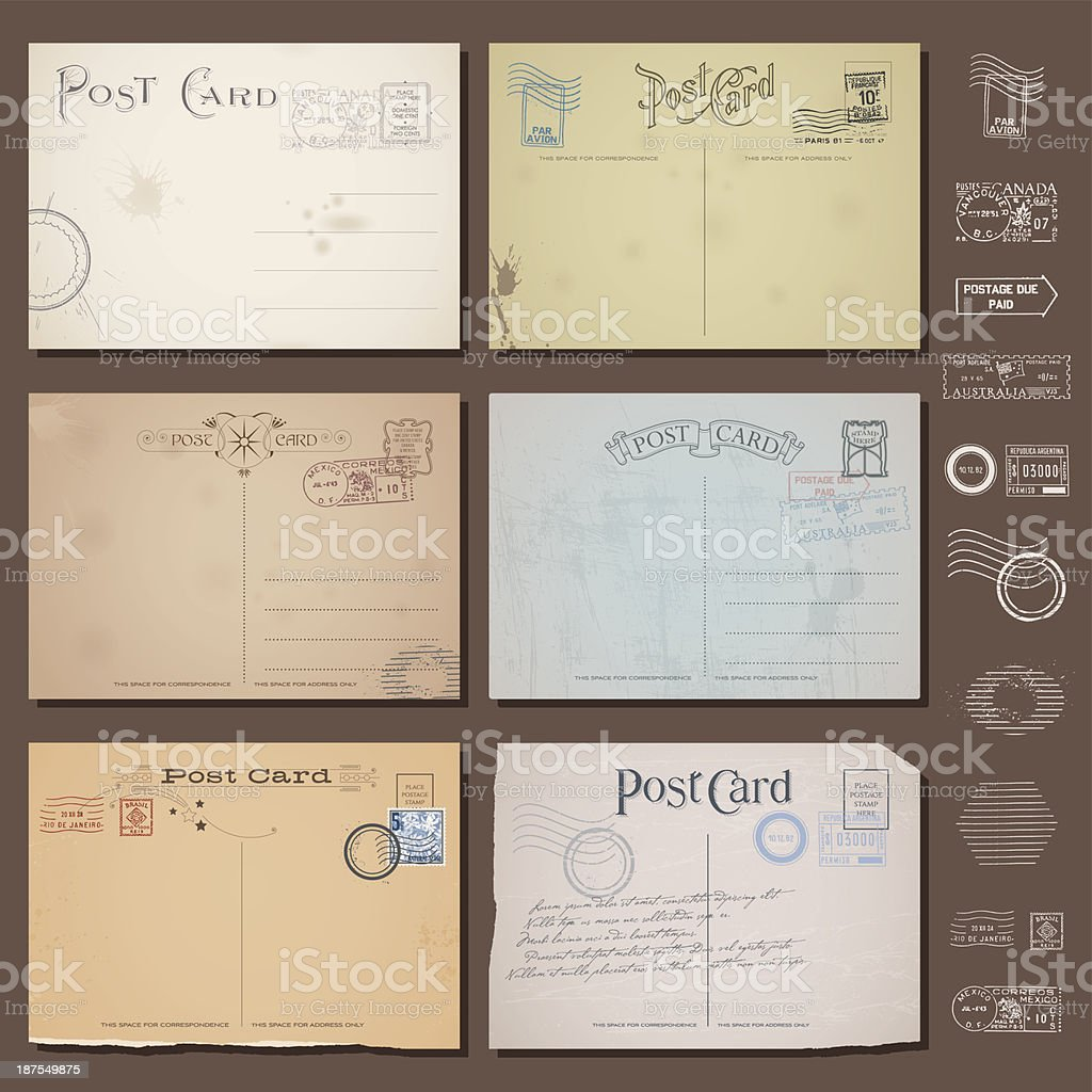 vector vintage postcard designs with stamps vector art illustration