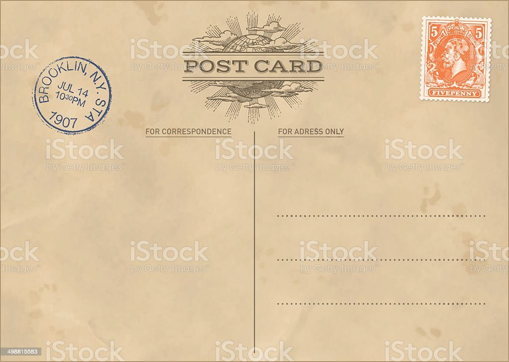 Vector Vintage Postcard Template vector art illustration