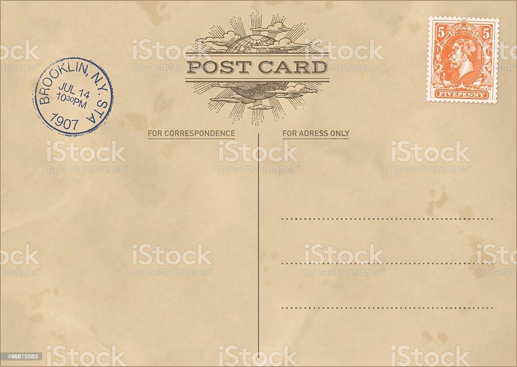 Vector Vintage Postcard Template vector art illustration