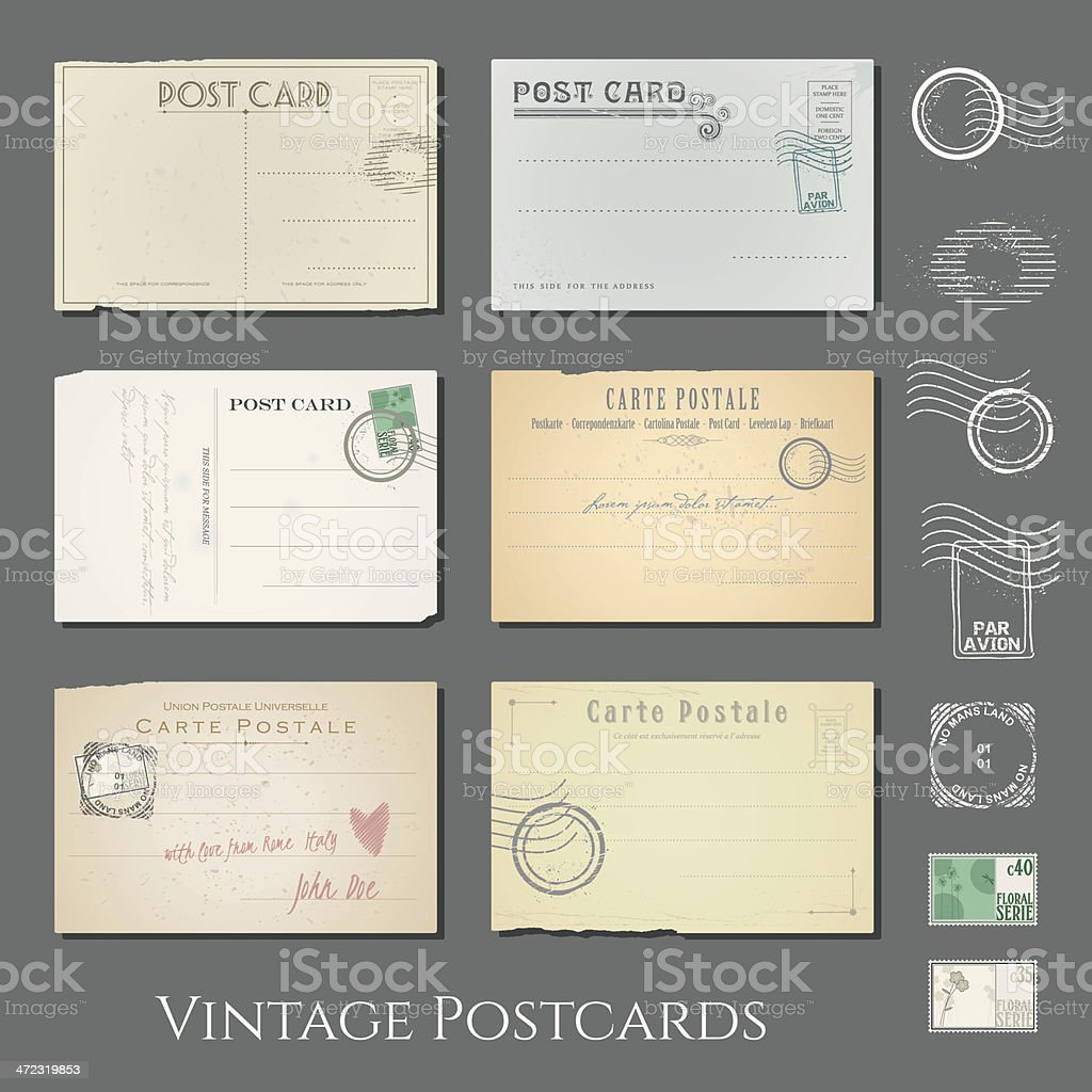 vector vintage postcards collection vector art illustration