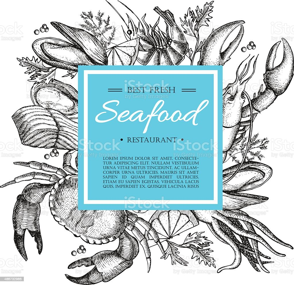 Vector vintage seafood restaurant illustration. Hand drawn banner. vector art illustration