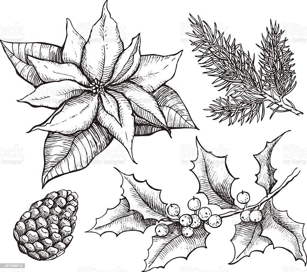 Vector vintage set of hand drawn, tradition Christmas decoration vector art illustration
