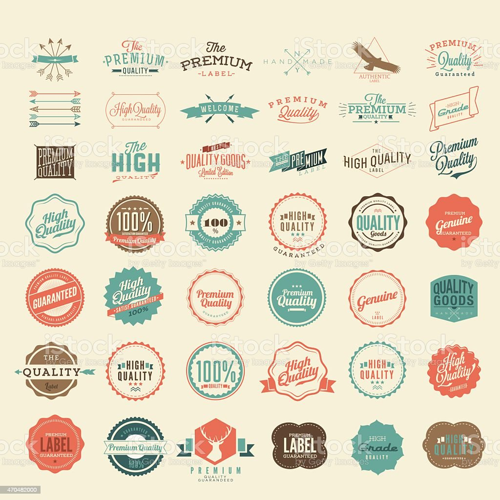 Vector Vintage Styled Premium Quality and Satisfaction Guarantee Label collection vector art illustration