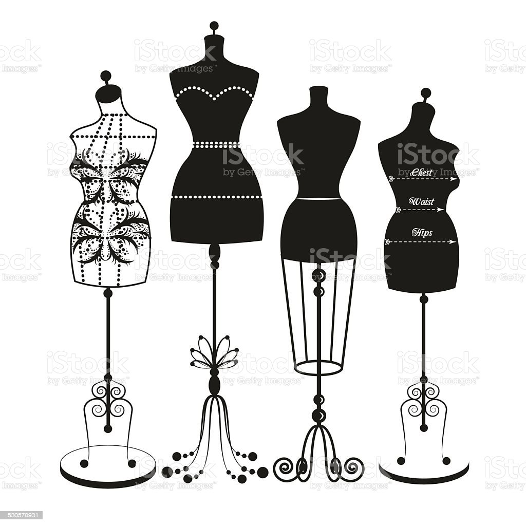 vector vintage tailor's mannequin vector art illustration