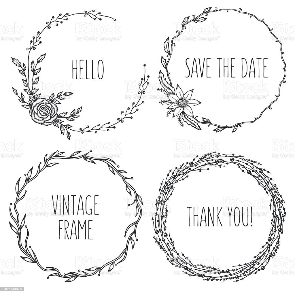 Vector vintage wreaths. Collection of trendy cute floral frames. vector art illustration