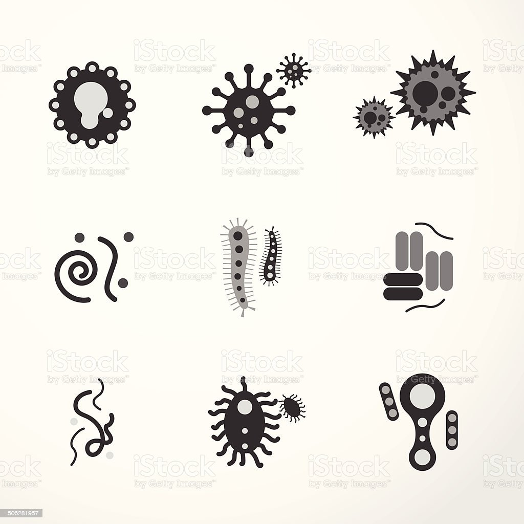 vector virus  icons black colour. vector art illustration