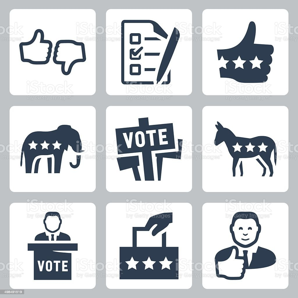 Vector voting and politics icons set vector art illustration