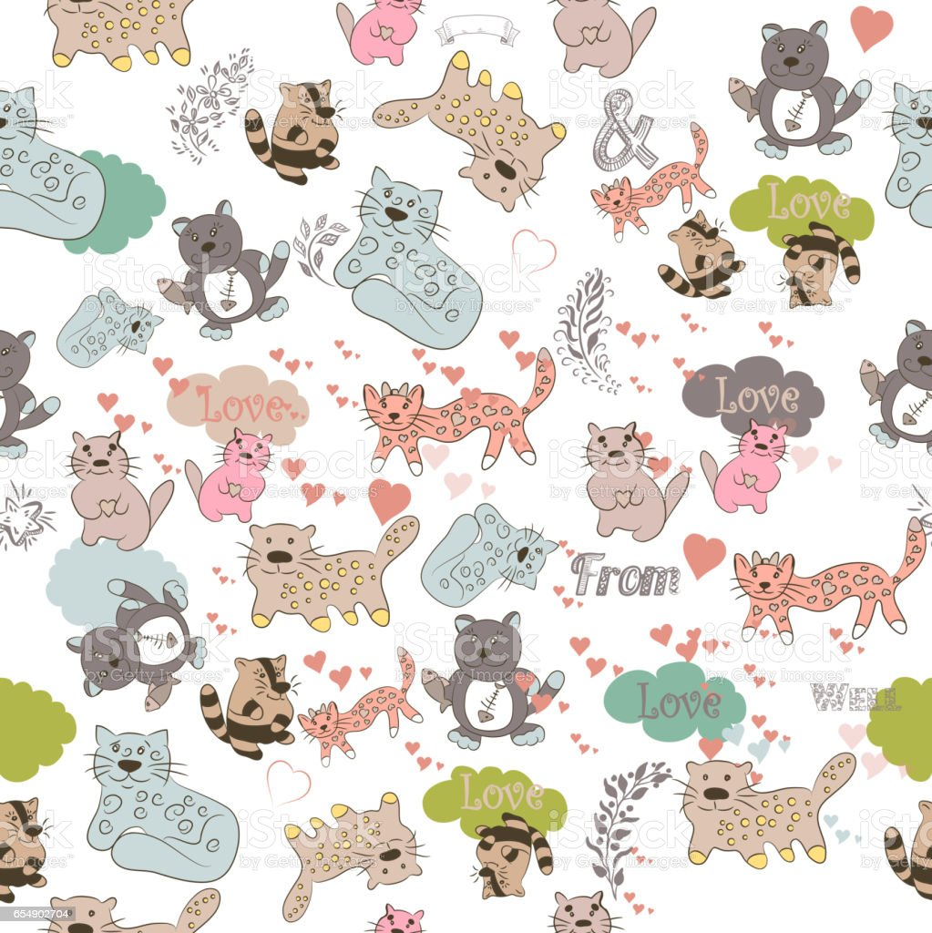 Vector wallpaper pattern with cute colorful cats in pastel tones. Ideal for fabric design and textile vector art illustration