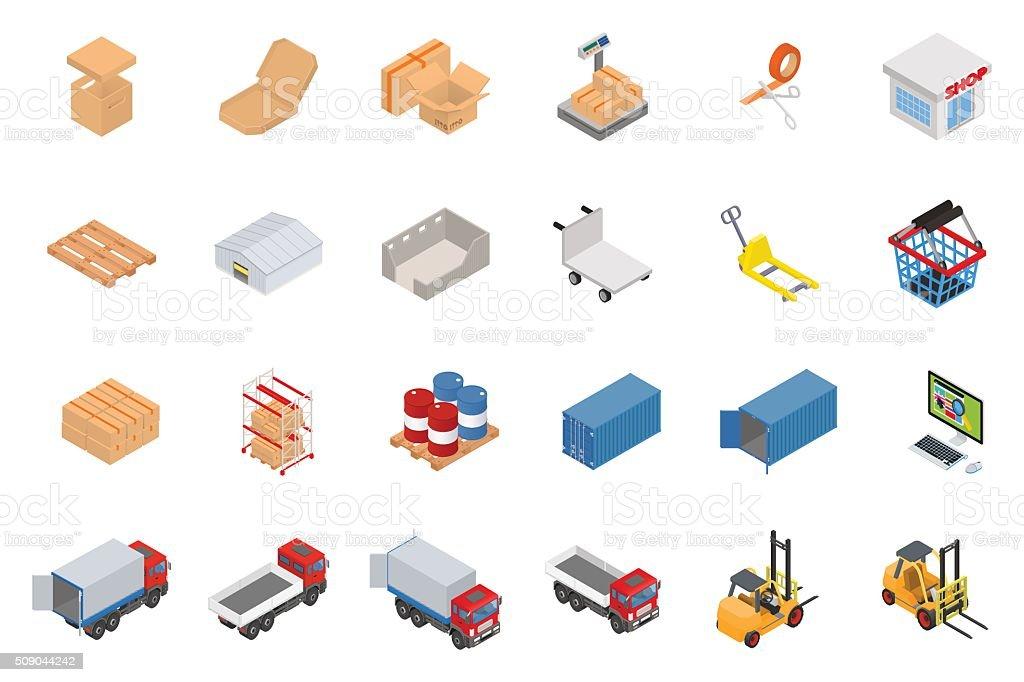 Vector warehouse equipment icon set vector art illustration
