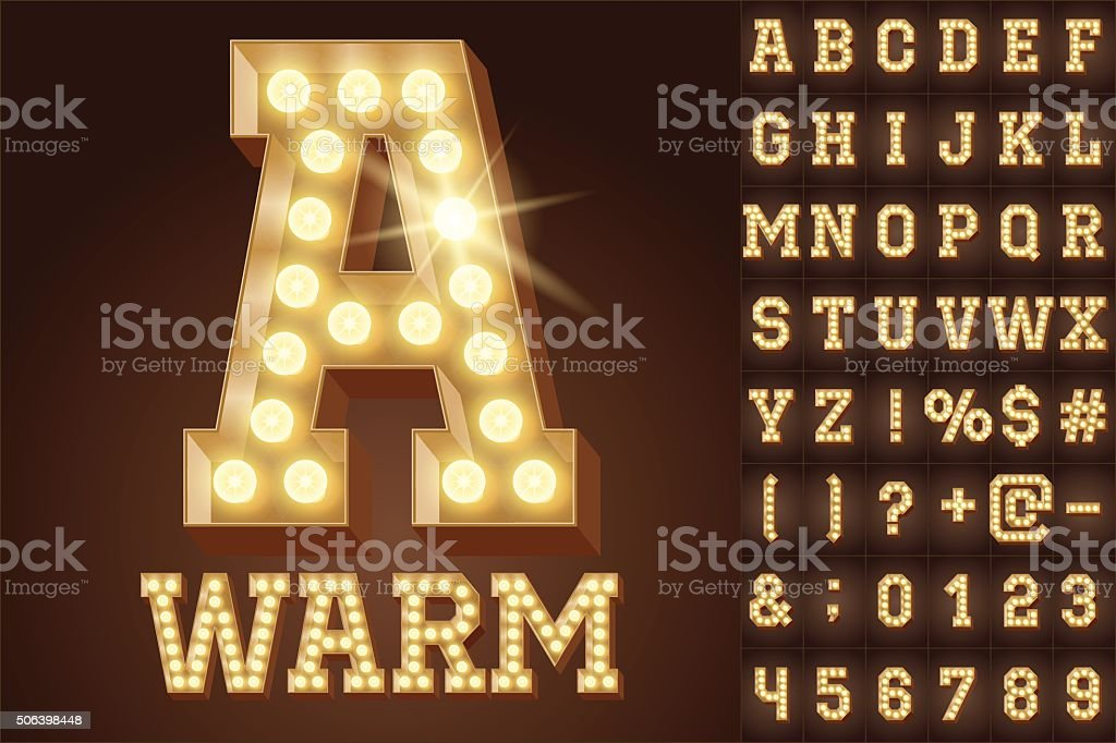 Vector warm white light up lamp alphabet in hard font vector art illustration
