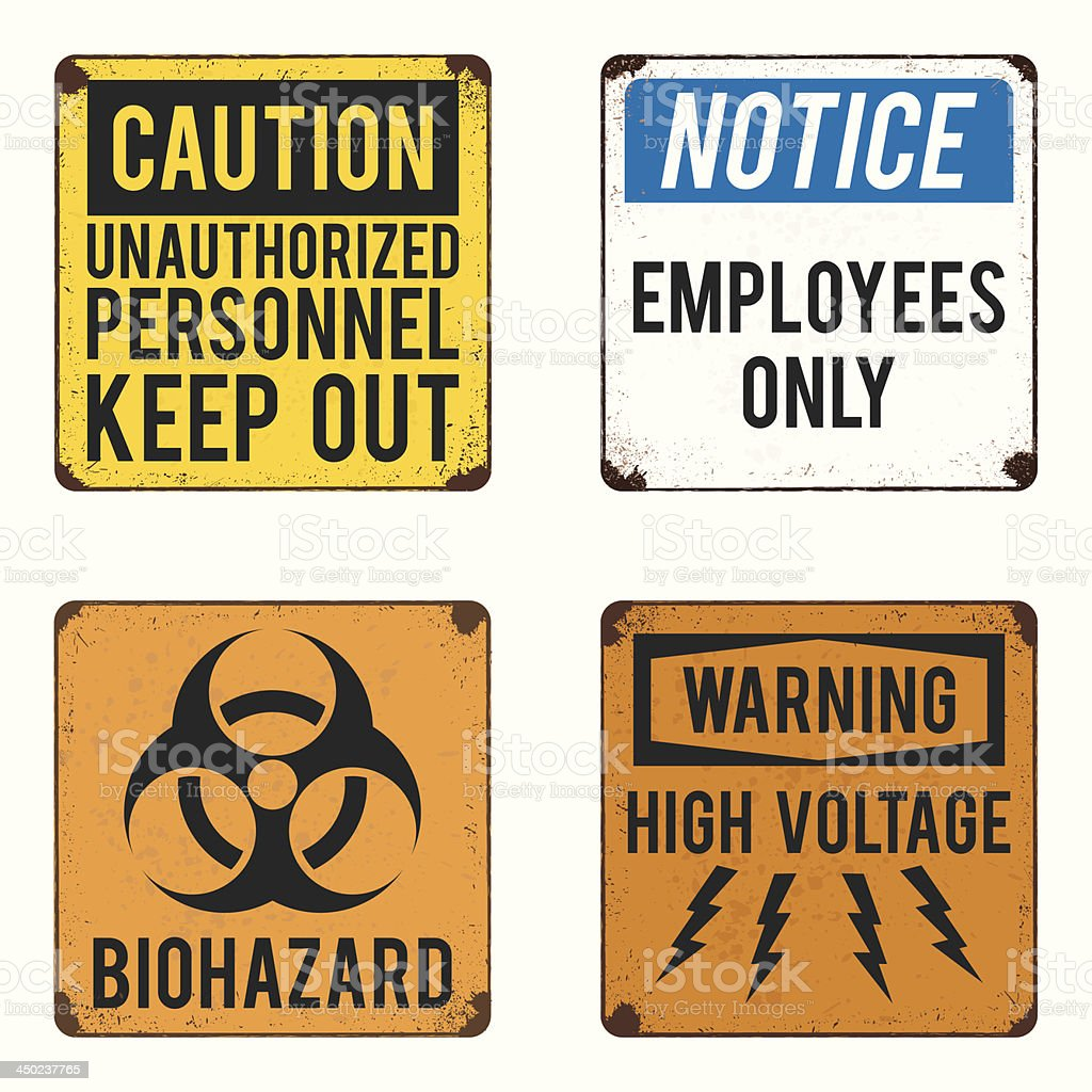 vector warning and safety signs collection vector art illustration