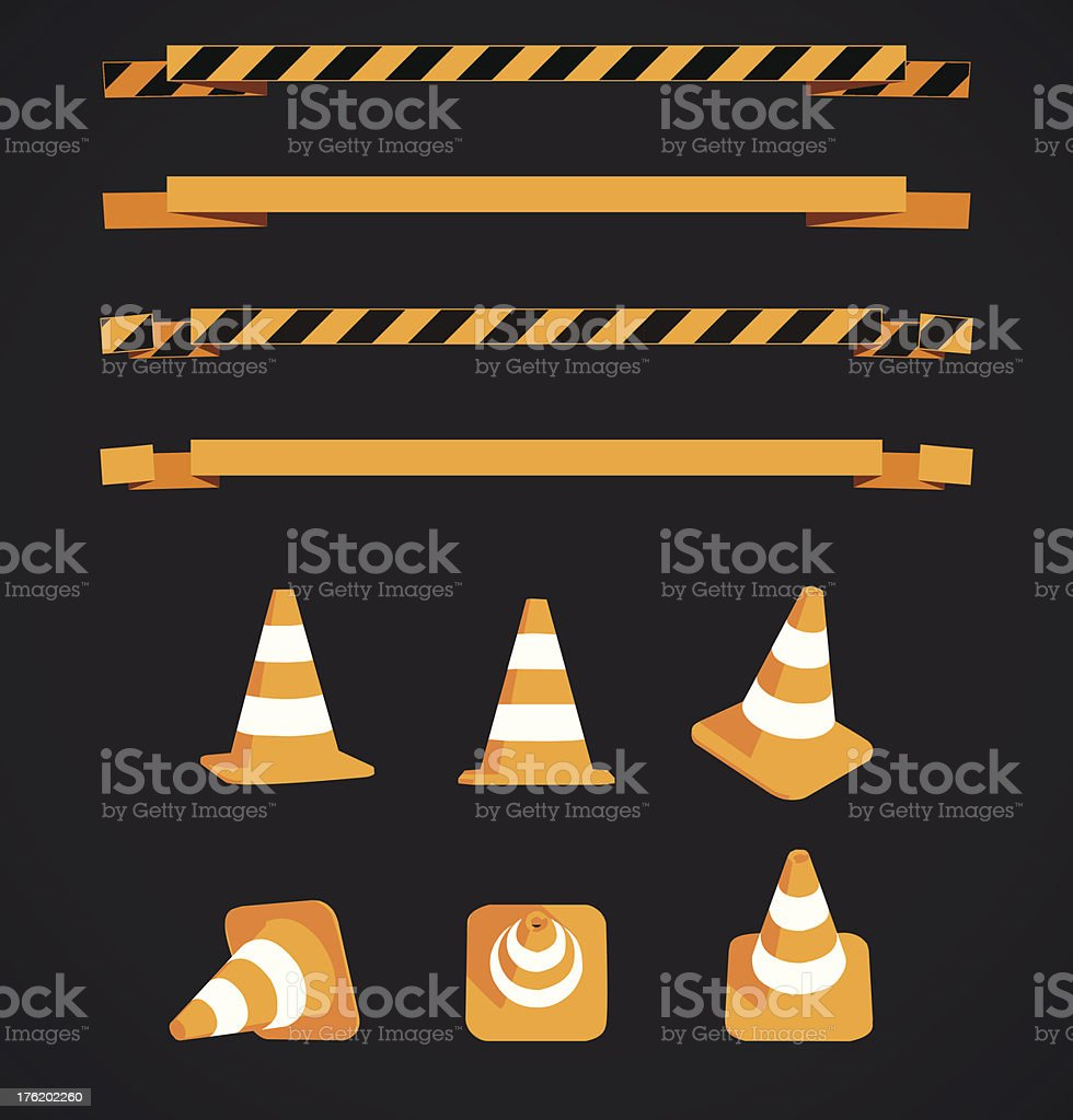 Vector warning strips and cones royalty-free stock vector art