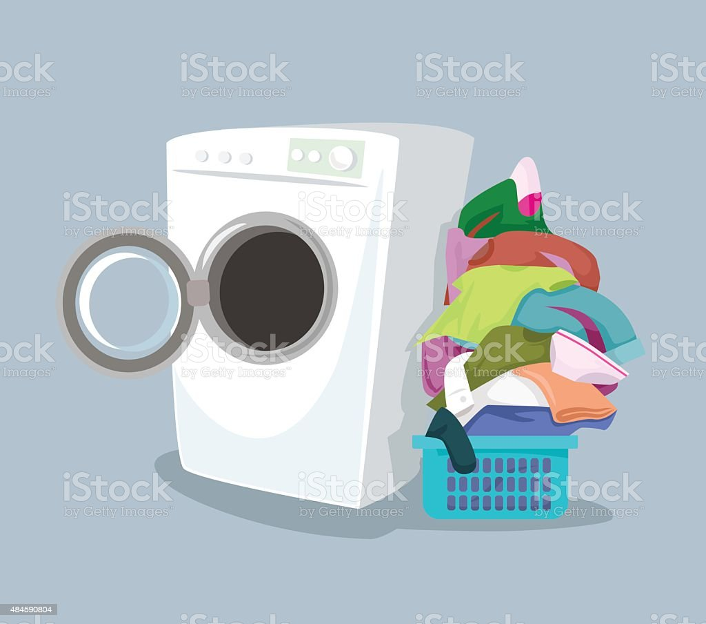 Vector washing machine. Flat cartoon illustration vector art illustration