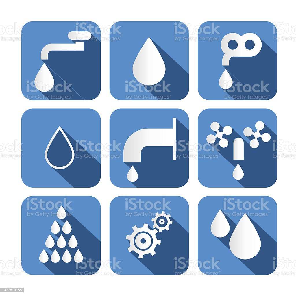 Vector Water Buttons - Symbols - Icons Set royalty-free stock vector art