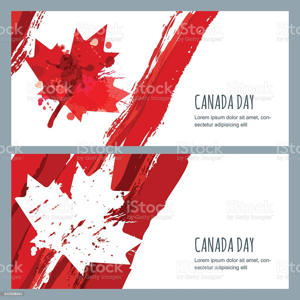 Vector watercolor banners and backgrounds. 1st of July Canada Day. vector art illustration
