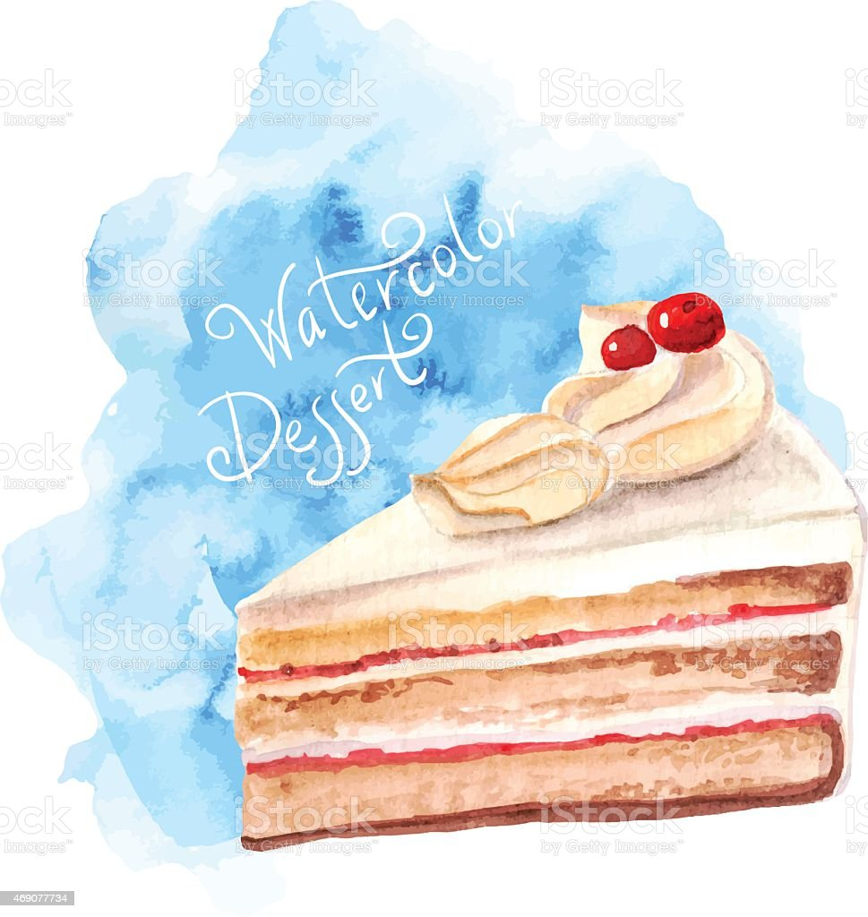 vector watercolor cake, piece of cake. vector art illustration