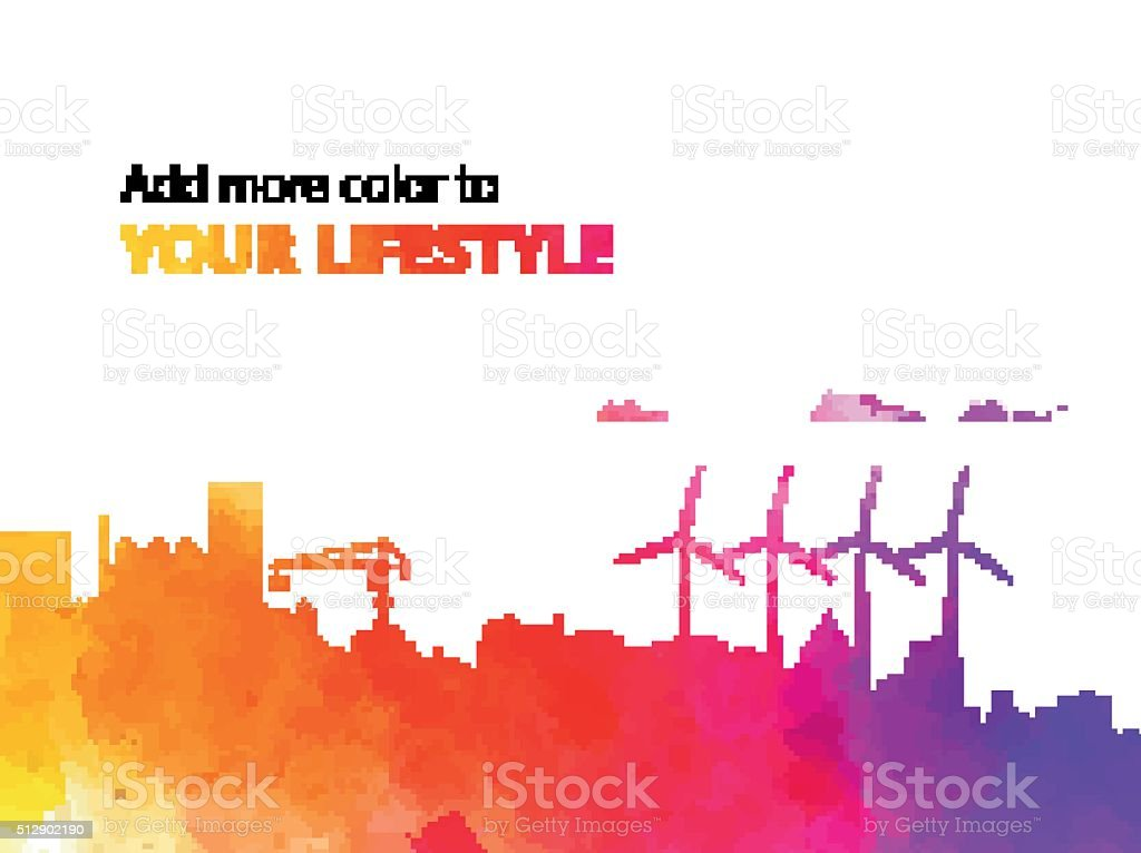 vector watercolor city illustration with slogan vector art illustration