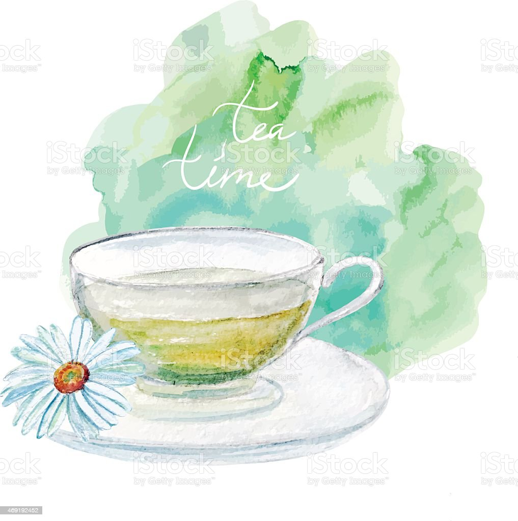 vector watercolor cup of tea with camomile. vector art illustration