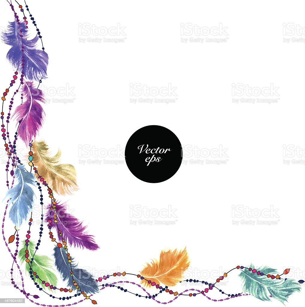 Vector watercolor feather background design vector art illustration