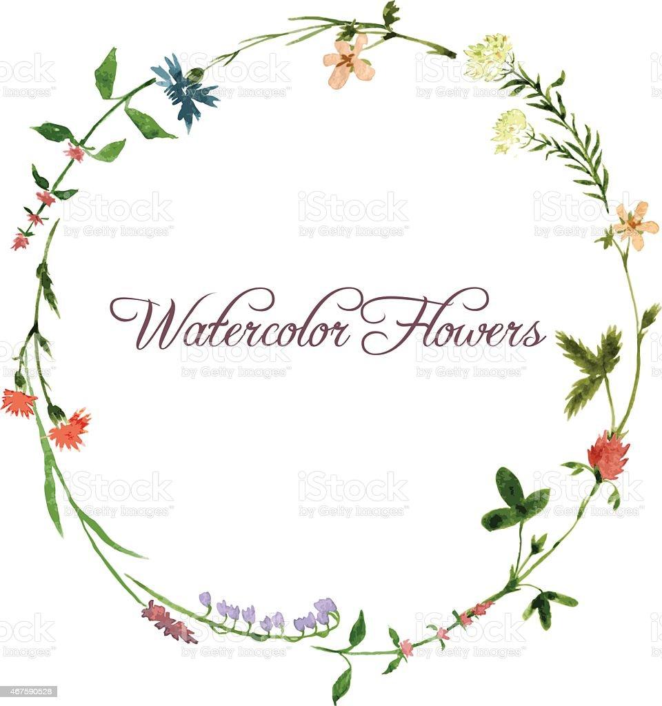vector watercolor floral frame vector art illustration