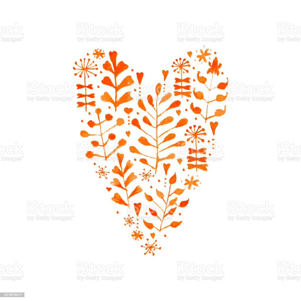 Vector Watercolor Floral Heart vector art illustration