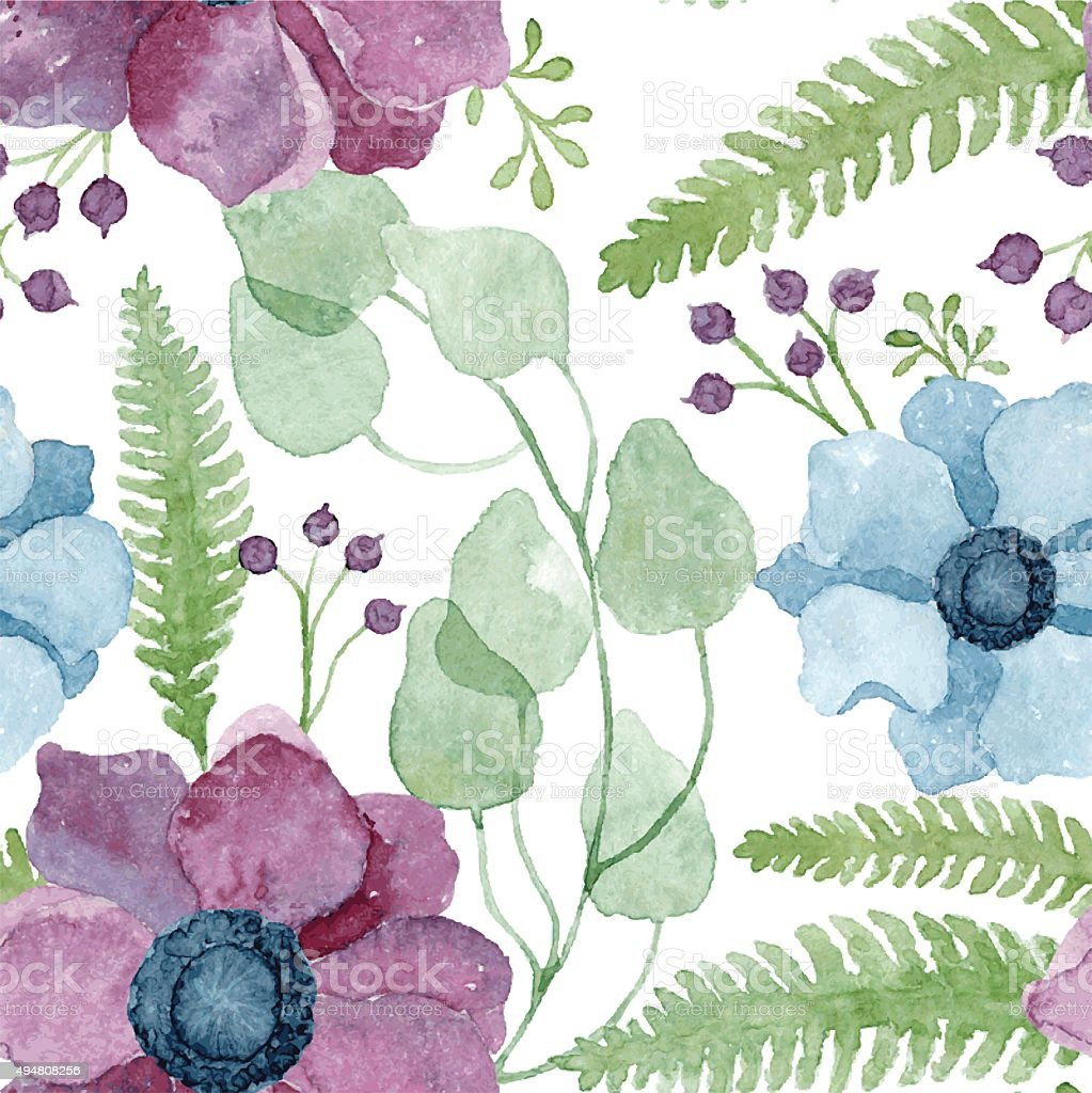 Vector watercolor floral pattern with purple and blue anemone flowers vector art illustration